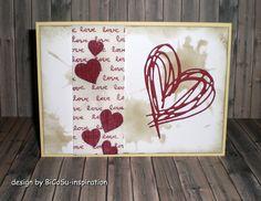 Valentinskarte / Hochzeitskarte / Muttertagskarte mit Herzen - valantine´s cards / wedding cards / mothersday cards with hearth and the big hearth is from Tim Holtz