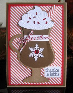 Thanks a Latte! - Scrapbook.com - Love the embossed whip cream on this sweet thank you card.