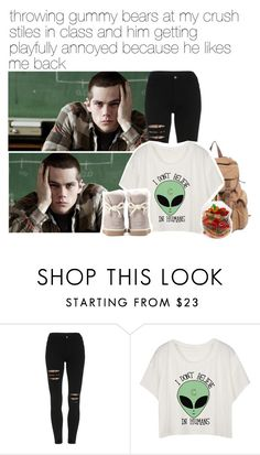 """throwing gummy bears at my crush stiles in class and him getting playfully annoyed because he likes me back"" by alphagabi ❤ liked on Polyvore featuring UGG Australia, StilesStilinski and dylanobrien"