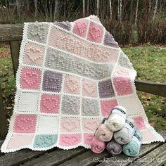 DIY – Virkad babypläd i vintagefärger och bobble stitch Crochet Blocks, Crochet Squares, Crochet Patterns, Bobble Stitch Crochet Blanket, Baby Blanket Crochet, Crochet Bebe, Diy Crochet, Diy Blanket Scarf, Crochet Capas