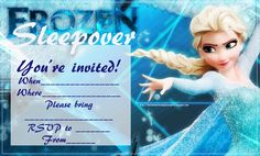 INVITATIONS FOR SLEEPOVER PARTYFeaturing Olaf the snowman and Anna - Snow Queen - here are two sleepover party invitations from the Disney movie Frozen.  Pick the one you like best - did you love  Frozen?