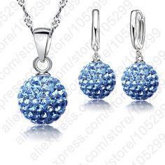 Hot New Jewelry Sets 925 Sterling Silver Austrian Crystal Pave Disco Ball Lever Back Earring Finding Pendant Necklace Woman -- Details can be found by clicking on the image.