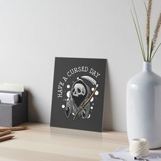"""""""Have a cursed day"""" Art Board Print by ninthstreet   Redbubble Art Boards, Cool Designs, Tapestry, Mugs, Day, Awesome, Hanging Tapestry, Tapestries, Tumblers"""