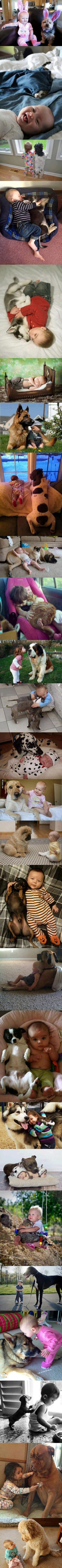 Babies and their pets. ADORABLE