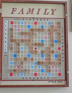 SALE Personalized Family Name Wall Art for Scrabble Board Lover Family Tree Genealogy. $125.00, via Etsy.