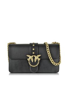Pinko Love Simply Black Leather Shoulder Bag w/Golden Chain