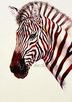 zebra original painting watercolor art animal painting