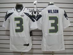 Seattle Seahawks 3 Russell Wilson White Autographed Elite Jersey