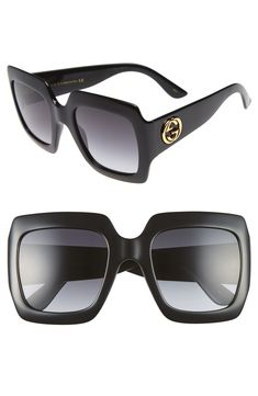 Bold, angular frames make these Italian sunglasses a standout accessory, while logo-embellished temples provide a polished finish. Style Name:Gucci Square Sunglasses. Style Number: Available in stores. Italian Sunglasses, Luxury Sunglasses, Stylish Sunglasses, Gucci Sunglasses, Oversized Sunglasses, Sunglasses Accessories, Sunnies, Gucci Eyewear, Cat Eye Sunglasses