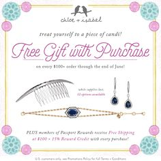 Free GWP, until the end of June 2017, for purchases $100+. 12 items to choose from.  www.birdwithafrenchfry.com