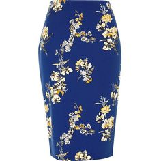 River Island Blue floral pencil skirt (€56) ❤ liked on Polyvore featuring skirts, blue, midi skirts, women, floral midi skirt, mid calf pencil skirt, high-waisted skirts, pencil skirt and high waisted floral skirt