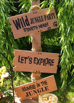 I love this sign for a Jungle Party Room. I would make it more durable. Maybe from wood. #LLPA #TukisIsland
