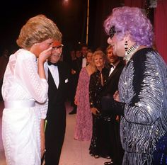 Diana trying to hide a giggle as she talks to Australian comedian Dame Edna Everage (Barry Humphries).