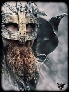 Viking and raven