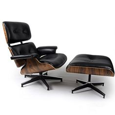 Mid Century Modern Classic Palisander Plywood Lounge Chair & Ottoman With Black Premium High Grade PU Leather Eames Style Replica