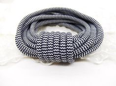 5mm Black and White Chevron Rope Cord Braided Trim by vess65