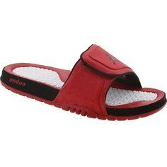 Jordan Hydro 2 sandals in varsity red, black, and white