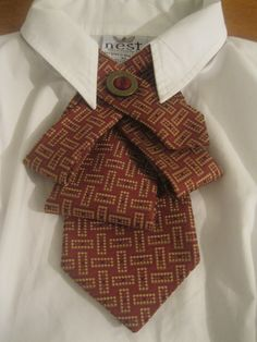 Upcycled tie necklace featuring a fun abstract tie in gorgeous shades of burgundy and gold... $30.00, via Etsy.