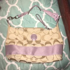 Coach purse EXCELLENT condition Tan and light purple Coach purse in excellent condition. Comes with duster. Coach Bags Satchels