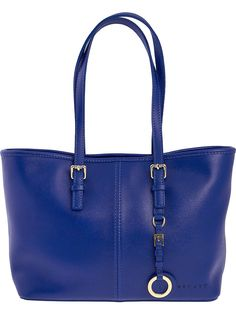 Blue leather shopping bag for women Made in Italy by Becatò