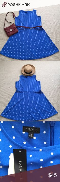 """CUTE!!! Royal and white polka dot A-line dress! 👗 Adorable royal blue and whit scoop neck A-line dress from Talbots.  Back zipper with hook and eye closure. Measures 21-1/2"""" pit to pit, 23"""" waist to hem, 40"""" shoulder to hem. Talbots Dresses"""