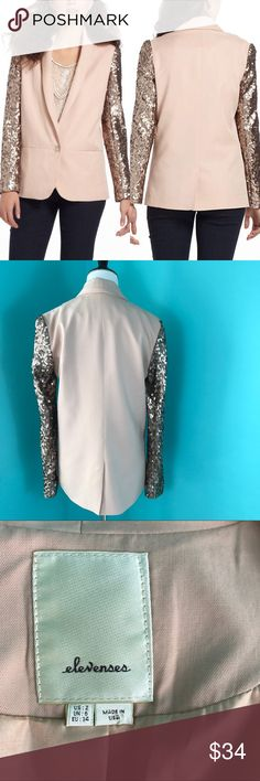 Anthropologie Elevenses Sequin Blazer /sz 2 Small Anthropologie Elevenses Sequin Blazer Gorgeous one button front blazer/jacket with champagne/copper sequin sleeves.  A standout piece. Size 2 / Small COLOR: Blush/ Light Pink. Champagne/ Copper sequins Perfect condition. Anthropologie Jackets & Coats Blazers