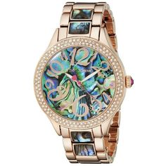 Betsey Johnson Analog Display Quartz Rose Gold Watch ($155) ❤ liked on Polyvore featuring jewelry, watches, quartz wrist watch, quartz bracelet, dial watches, rose gold bracelet and multi colored bracelet