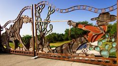 Ranch gates outside of Austin in the hill country. A funny gate.