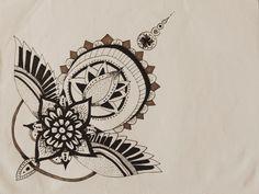 arrow bird floral tattoo design illustration.