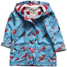 Girls Blue Bird Print Raincoat - Coats & Jackets - Girl | Childrensalon