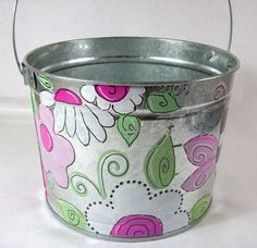 floral bucket...use in guest room or bath