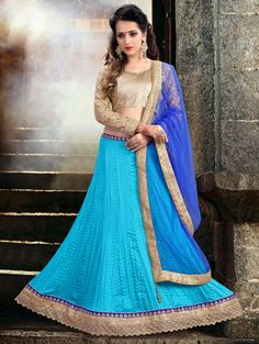 Blue Tussar Silk Lehenga Choli with Embroidery Work