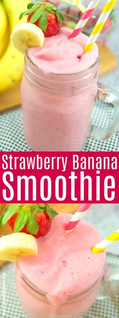 Pin this recipe It s so simple but such a great breakfast idea Strawberry Banana Smoothie smoothie breakfast recipe FruitSmoothie Smoothie Recipes For Kids, Easy Smoothies, Healthy Recipes, Breakfast Smoothies, Smoothie Drinks, Healthy Drinks, Juice Recipes, Detox Recipes, Ketogenic Recipes
