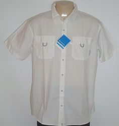 NEW $55 TAG Columbia Sportswear White S/S Vented XL Shirt Cotton COOLWATER CREEK #ColumbiaSportswear #ButtonFrontShirt