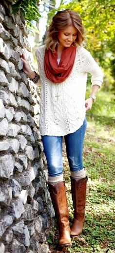 Fall Outfit With Crochet Blouse,Skinny Jeans and Long Boots #FallFashion #Style