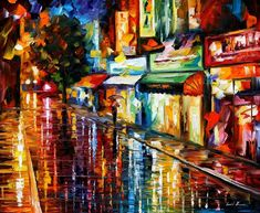 """Night Rain"" by Leonid Afremov ___________________________ Click on the image to buy this painting ___________________________ #art #painting #afremov #wallart #walldecor #fineart #beautiful #homedecor #design"