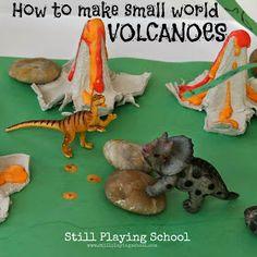 Still Playing School: Dinosaur Small World with Homemade Volcanoes Egg Carton Crafts & Activities, Egg Carton Crafts Dinosaur Crafts Kids, Dinosaur Theme Preschool, Dinosaur Projects, Dinosaur Garden, Dinosaur Play, Dinosaur Activities, Toddler Activities, Crafts For Kids, Dinosaur Classroom