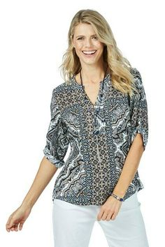 65f2f142b85fa9 NEW Women's Rockmans Elbow Sleeve Neutral Print Shirt Multi 12 #fashion  #clothing #shoes #accessories #womensclothing #tops (ebay link)