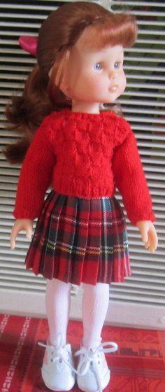 ensemble  jupe écossaise et pull rouge pour poupée Corolle  les cheries 33 cm