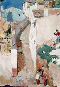 Joaquin Sorolla / Street in Granada Urban Landscape, Landscape Art, Landscape Paintings, Landscapes, Spanish Painters, Spanish Artists, Street Art, Paintings I Love, Oil Paintings
