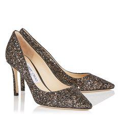 9c3e139e73c7 NIB NEW Jimmy Choo Romy 100 pumps glitter black gold silver 37 38
