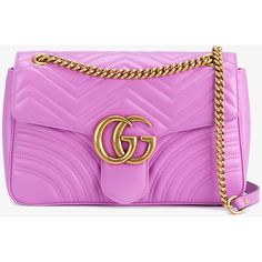 GUCCI GG Marmont Matelassé Shoulder Bag (£1,330) ❤ liked on Polyvore featuring bags, handbags, shoulder bags, leather purses, pink shoulder bag, hand bags, clear purses and leather shoulder handbags