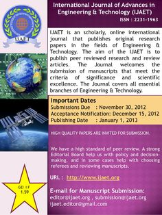 call-for-papers-jan-2013 by P Singh Ijaet via Slideshare