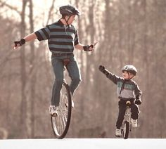 My dad and I unicycling together back in 1994