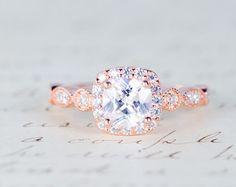 Rose Gold Wedding Ring Set Art Deco Engagement Ring by MochaRings