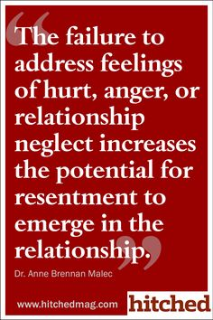 The failure to address feelings of hurt, anger, or relationship neglect increases the potential for resentment to emerge in the relationship.