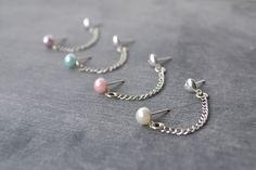 Pearl Double Lobe Pierce Earrings I want! $10
