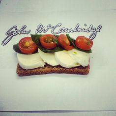 Mozzarella, Tomatoes and Basil on McCambridge Brown Bread, Delicious !!!