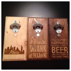 Wall Mount Beer Opener with Magnetic Cap Catcher - Groomsman Gift - Father's Day Present