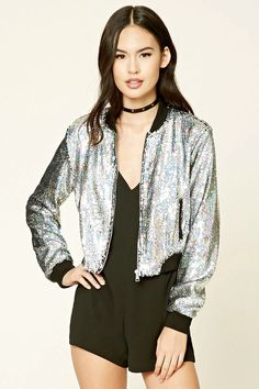 A bomber jacket featuring iridescent sequins, a zipper front, slanted pockets, long sleeves, and a contrast ribbed trim.